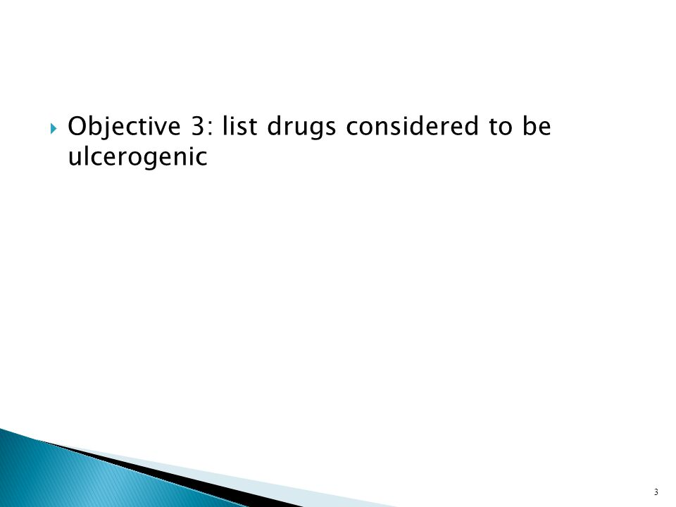 Objective 3: list drugs considered to be ulcerogenic