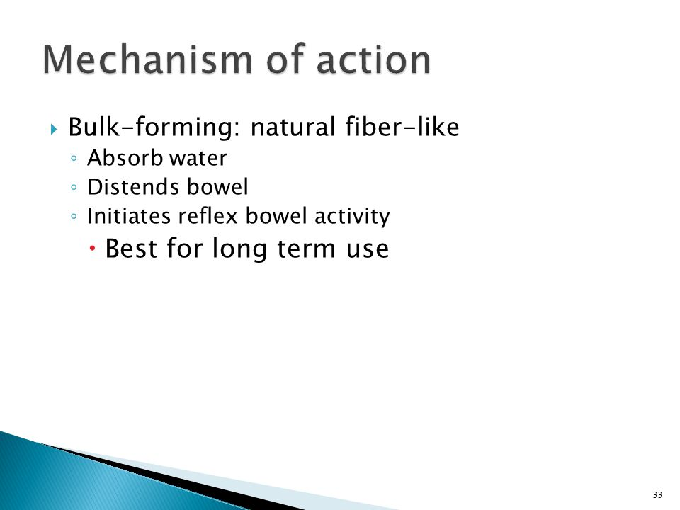Mechanism of action Best for long term use
