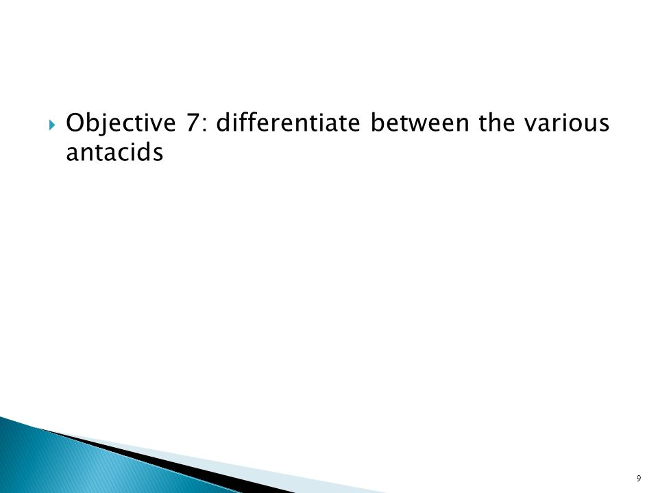 Objective 7: differentiate between the various antacids