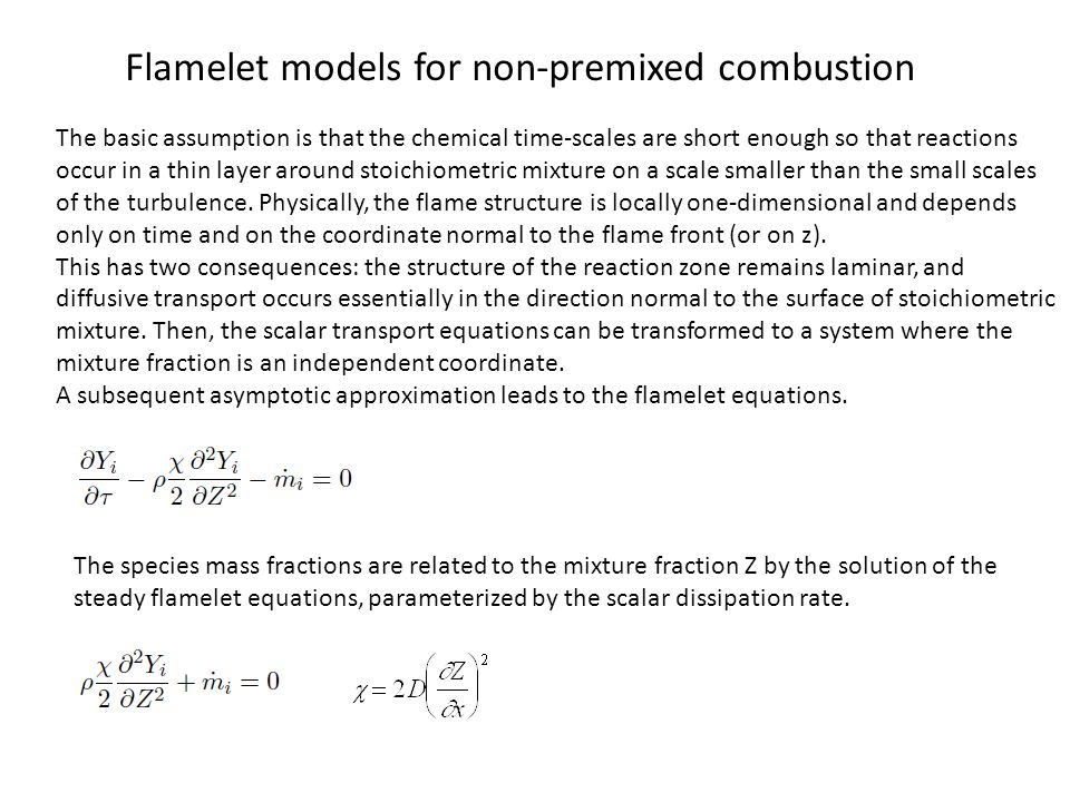 Flamelet models for non-premixed combustion
