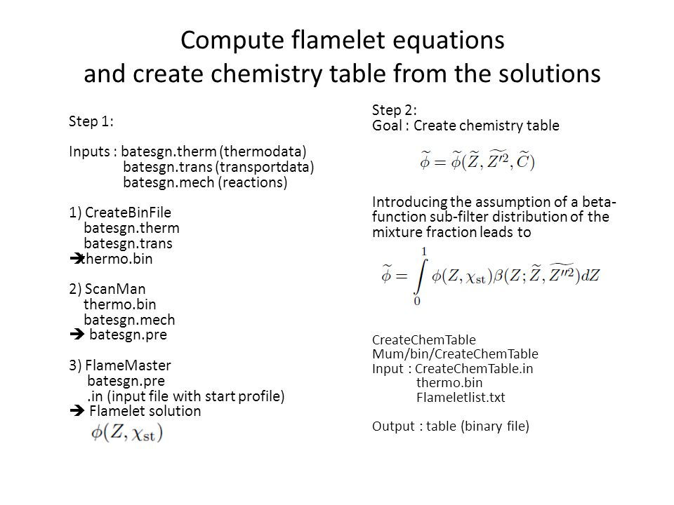 Compute flamelet equations and create chemistry table from the solutions