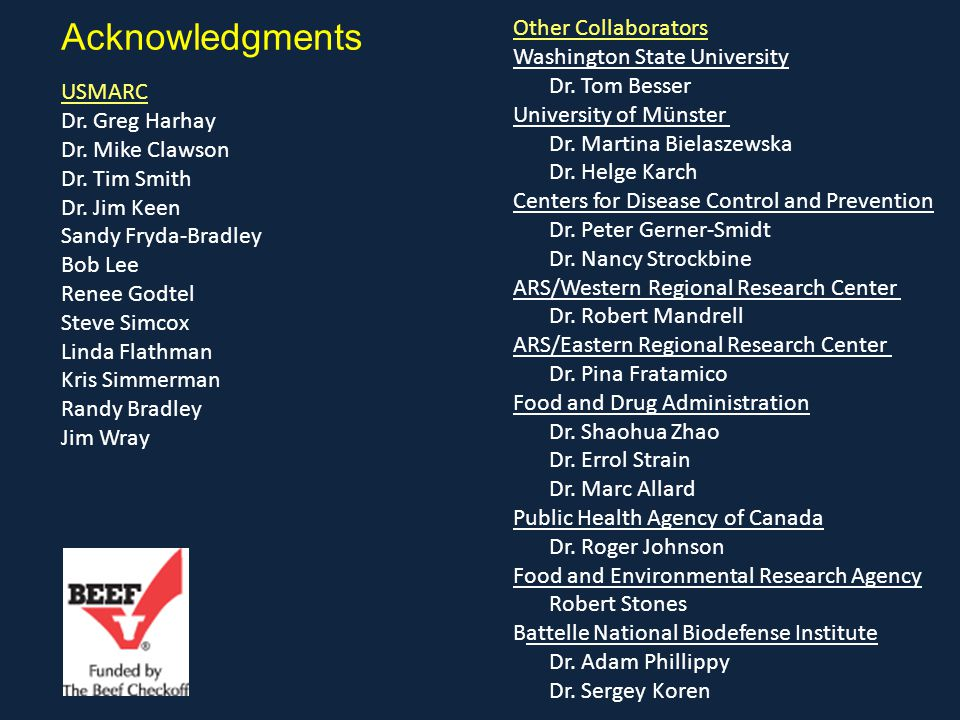Acknowledgments Other Collaborators Washington State University