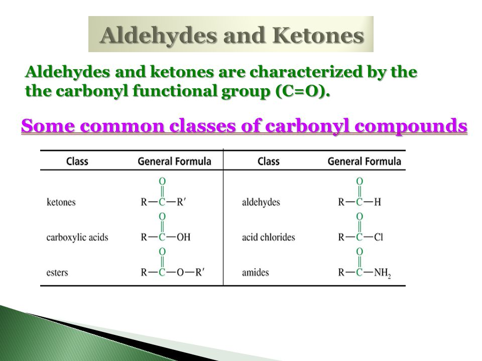 Aldehydes and Ketones Some common classes of carbonyl compounds