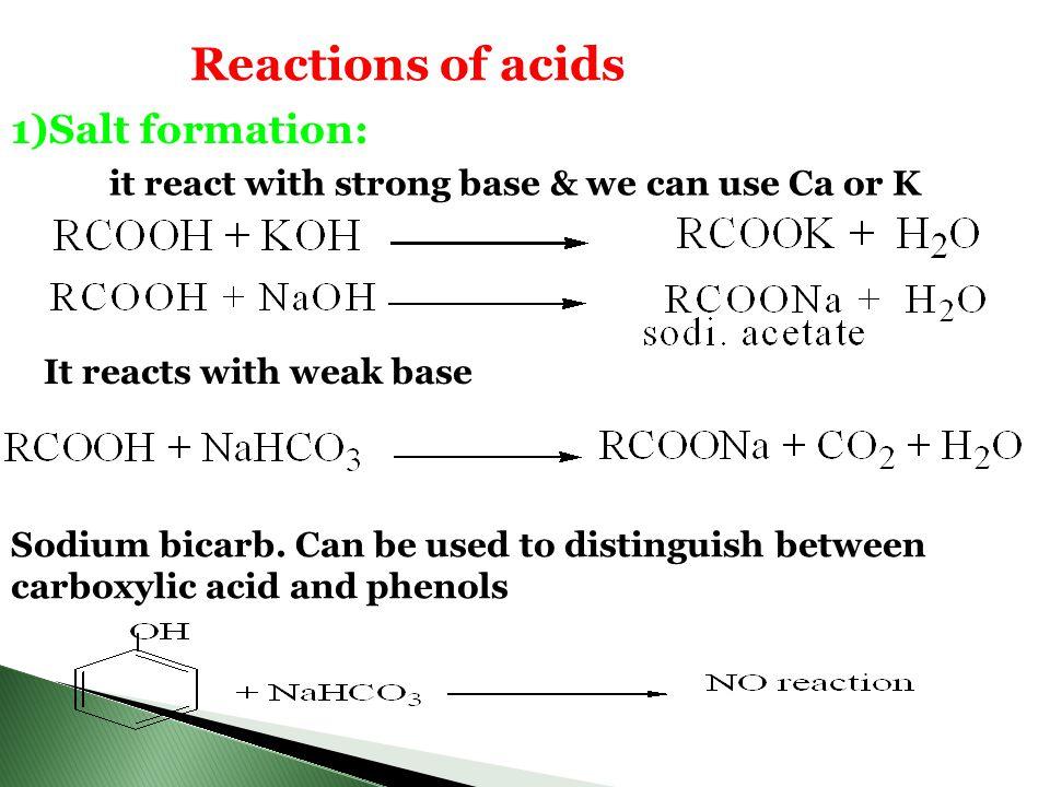 Reactions of acids 1)Salt formation: