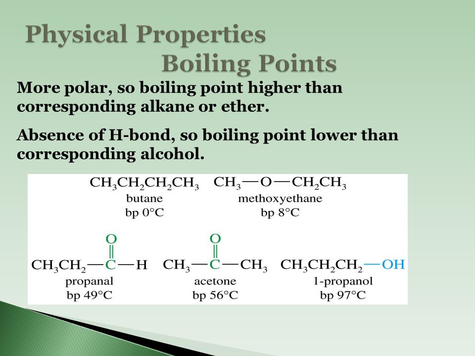 Physical Properties Boiling Points