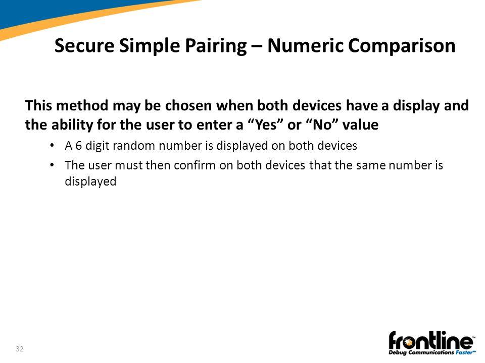 Secure Simple Pairing – Numeric Comparison