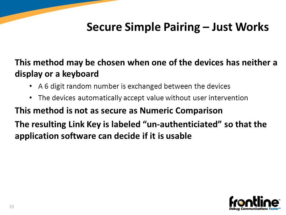 Secure Simple Pairing – Just Works