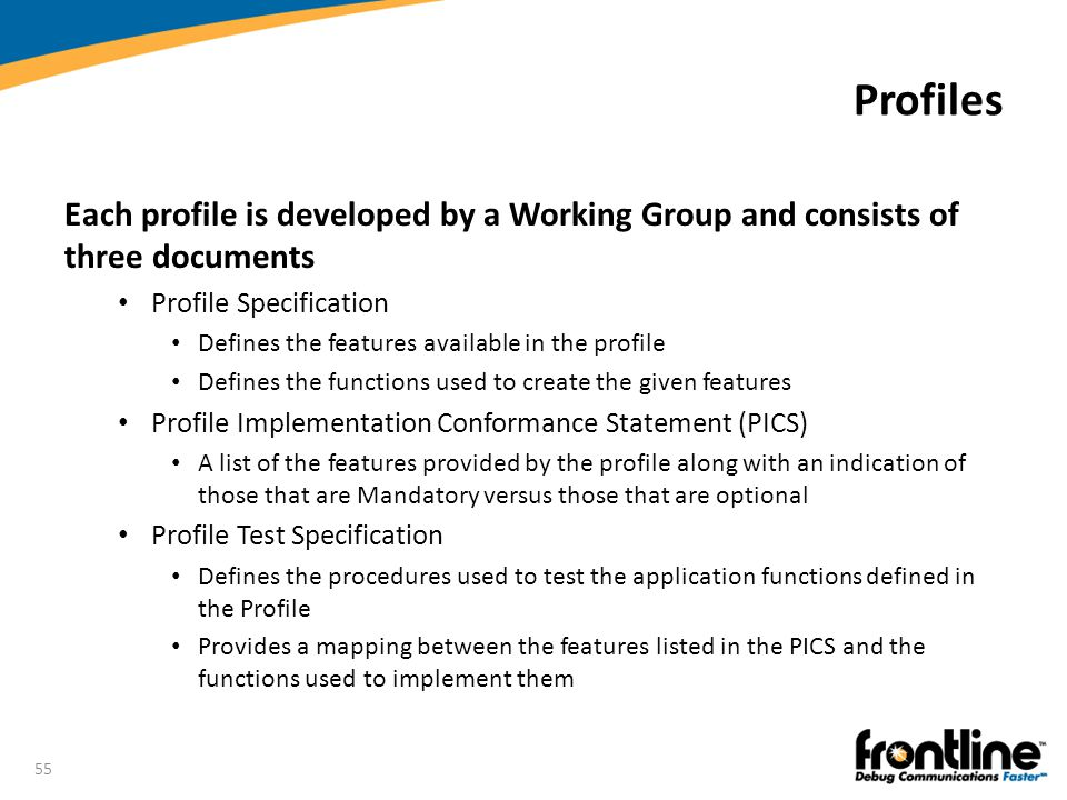 Profiles Each profile is developed by a Working Group and consists of three documents. Profile Specification.