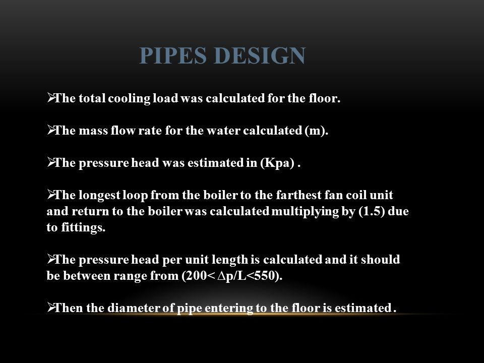 PIPES DESIGN The total cooling load was calculated for the floor.
