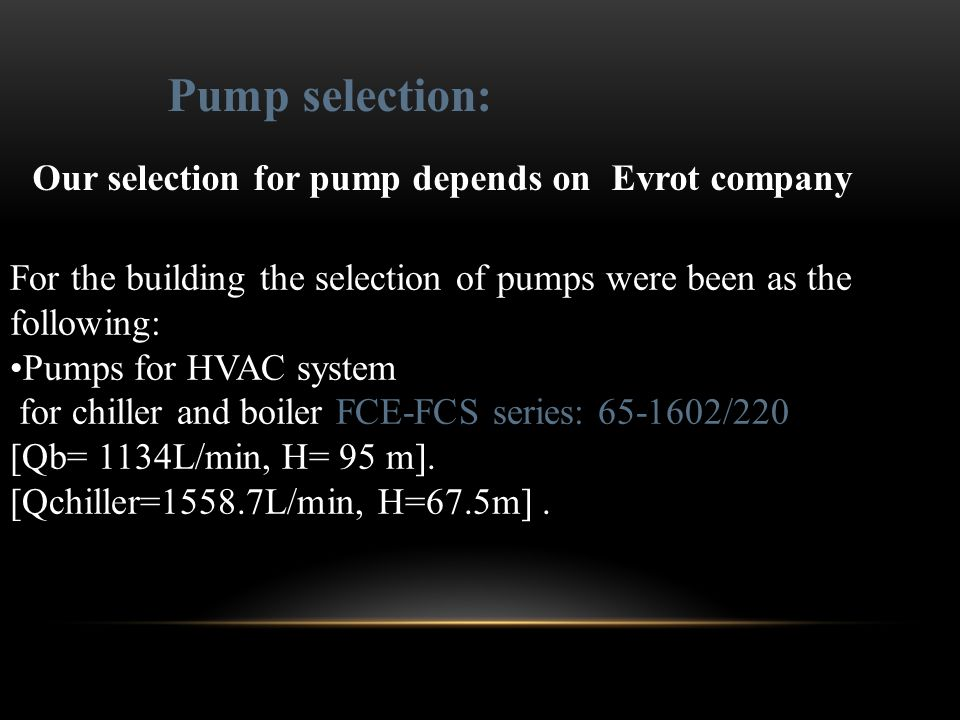 Pump selection: Our selection for pump depends on Evrot company