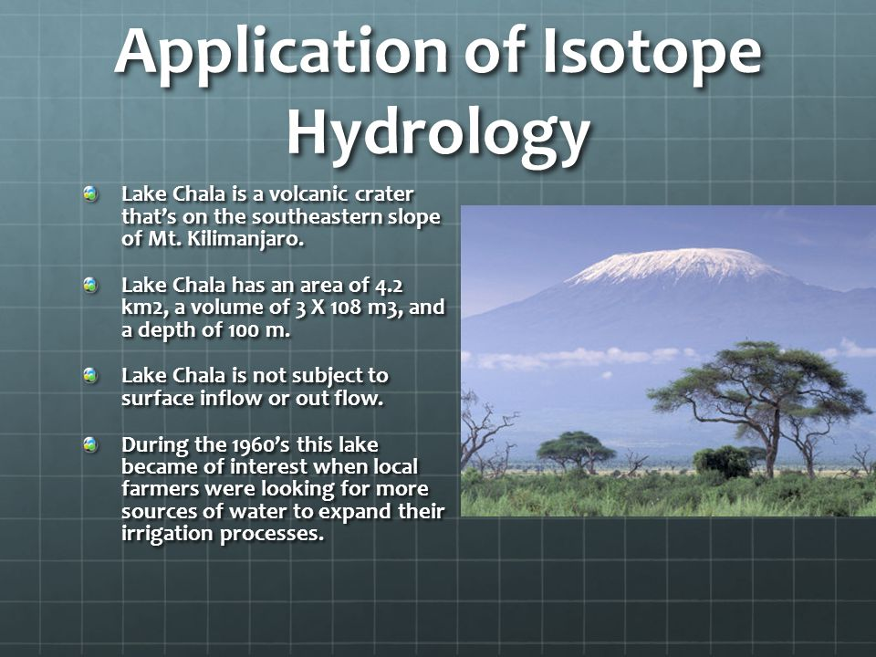 Application of Isotope Hydrology