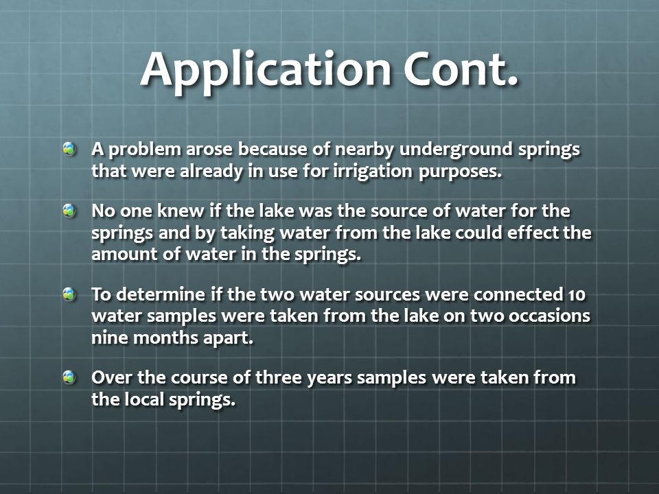 Application Cont. A problem arose because of nearby underground springs that were already in use for irrigation purposes.