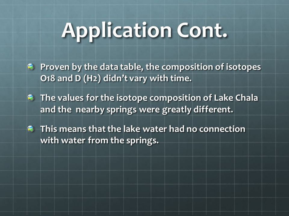 Application Cont. Proven by the data table, the composition of isotopes O18 and D (H2) didn't vary with time.