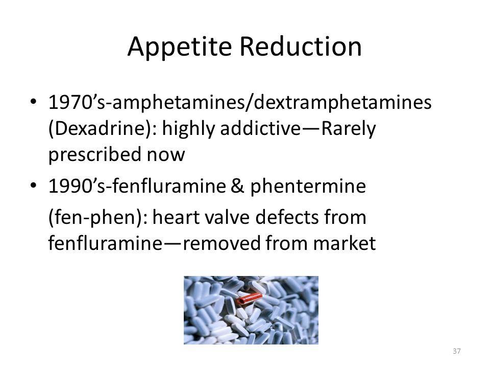 Appetite Reduction 1970's-amphetamines/dextramphetamines (Dexadrine): highly addictive—Rarely prescribed now.