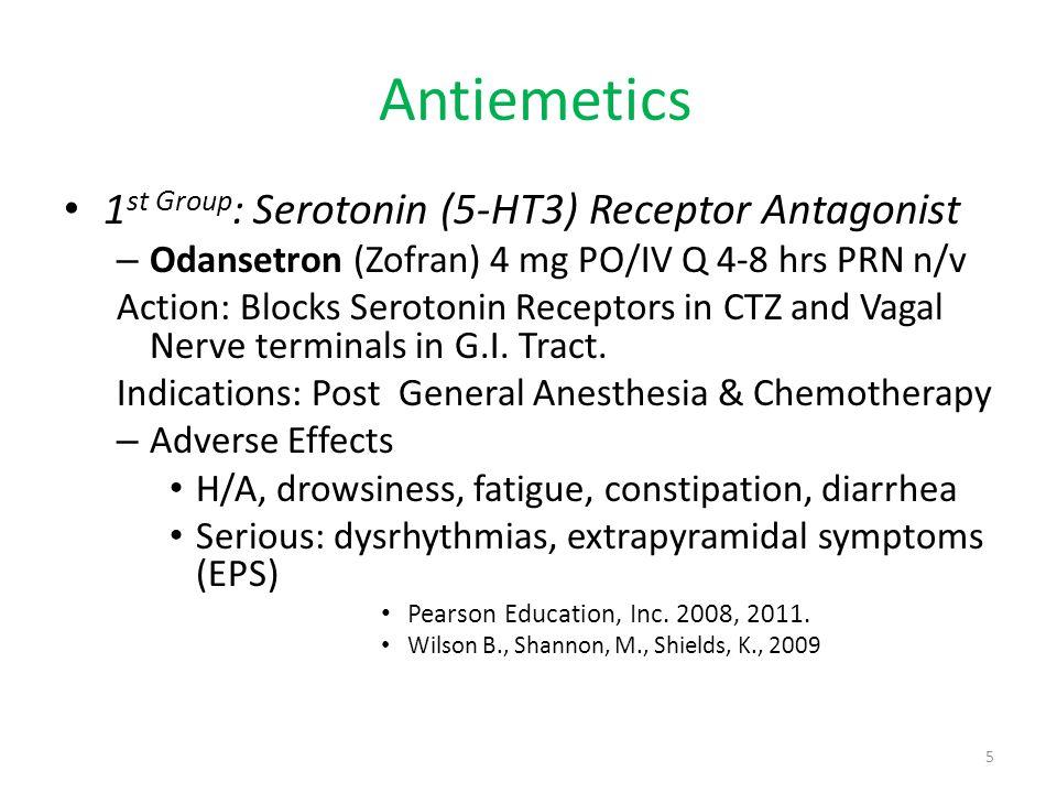 Antiemetics 1st Group: Serotonin (5-HT3) Receptor Antagonist
