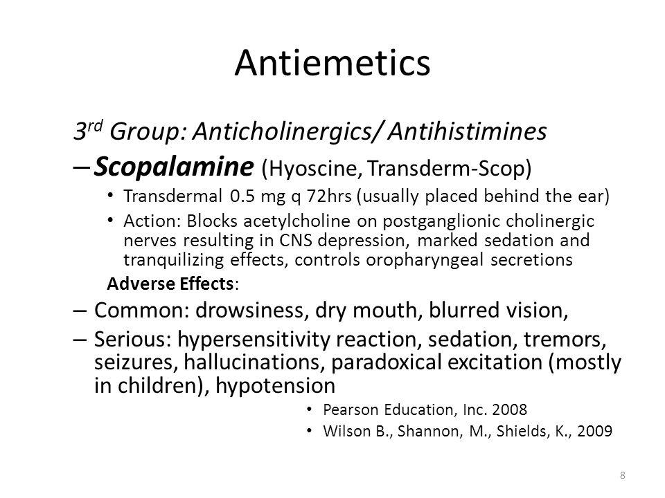 Antiemetics Scopalamine (Hyoscine, Transderm-Scop)