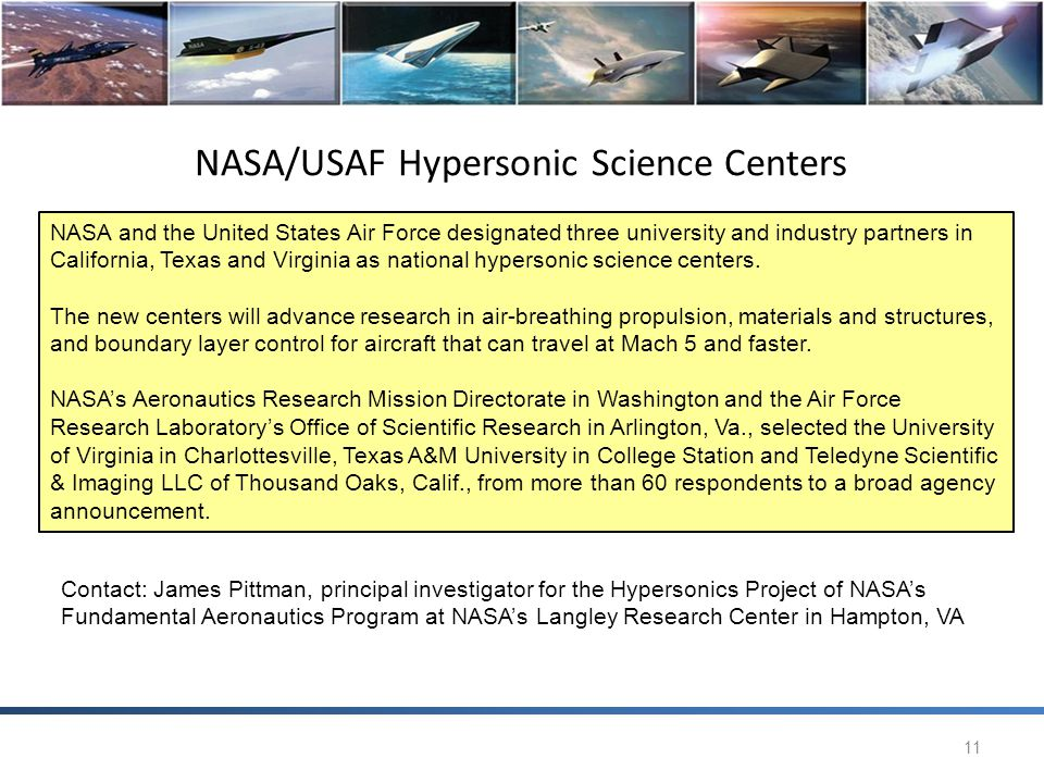 NASA/USAF Hypersonic Science Centers