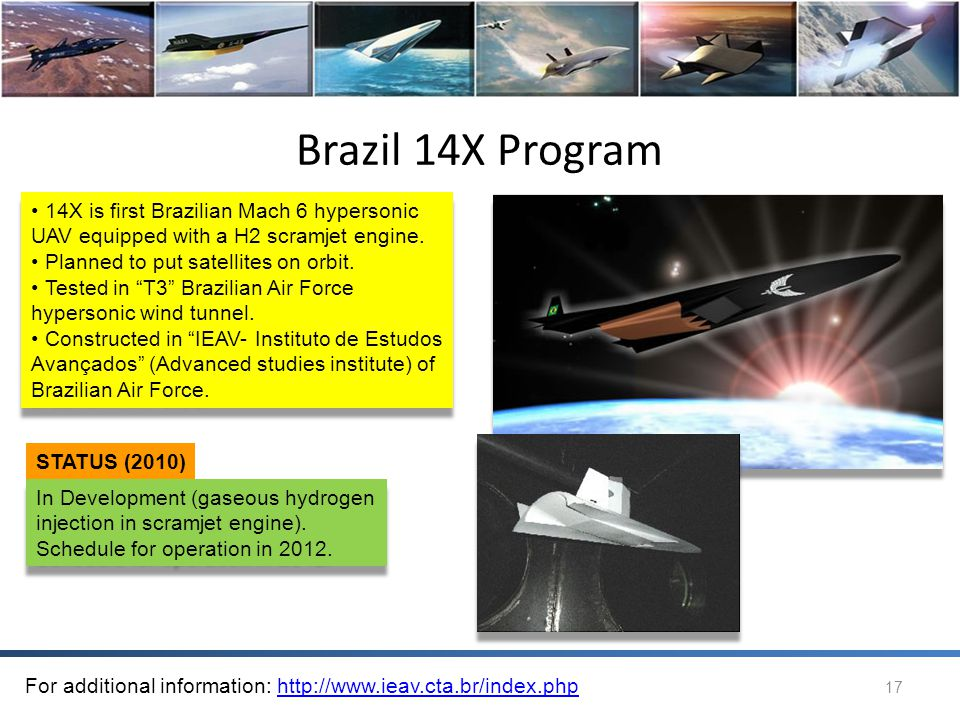 Brazil 14X Program 14X is first Brazilian Mach 6 hypersonic UAV equipped with a H2 scramjet engine.