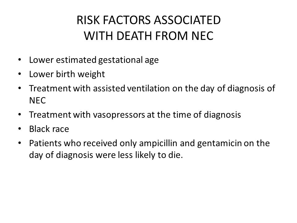 RISK FACTORS ASSOCIATED WITH DEATH FROM NEC