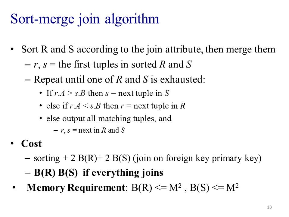 Sort-merge join algorithm