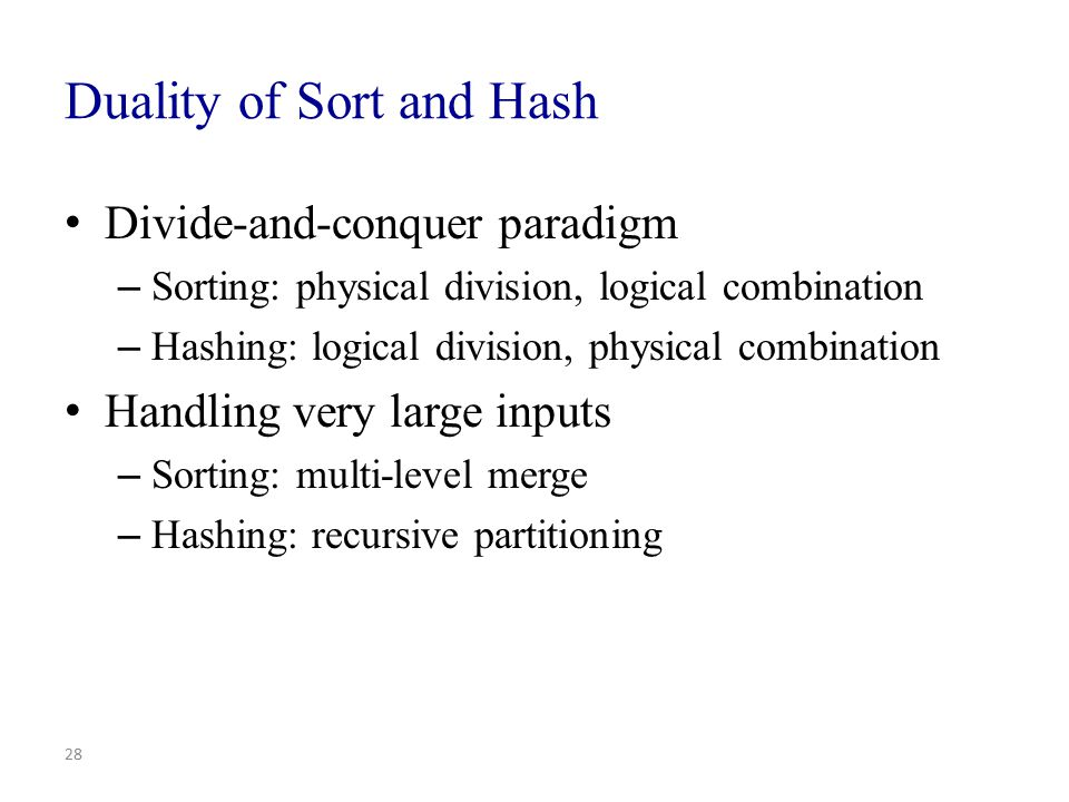 Duality of Sort and Hash