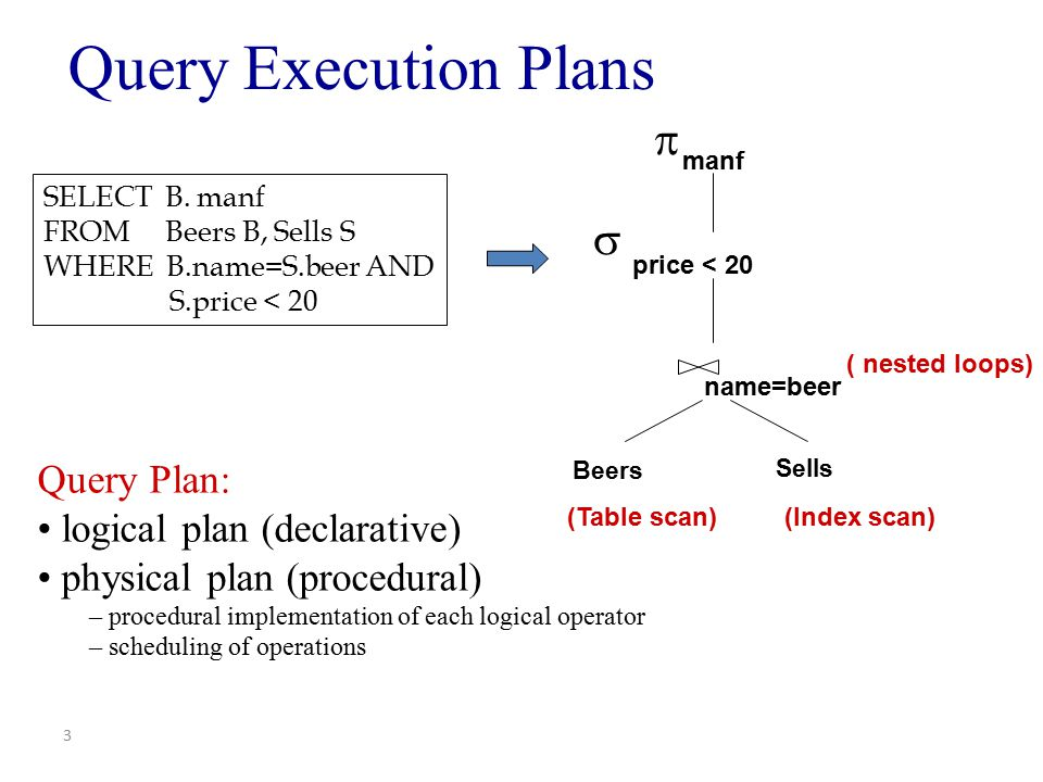 Query Execution Plans   Query Plan: logical plan (declarative)