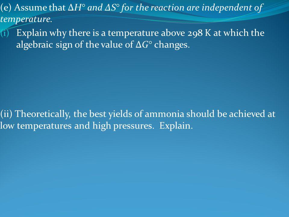 (e) Assume that ΔH° and ΔS° for the reaction are independent of temperature.