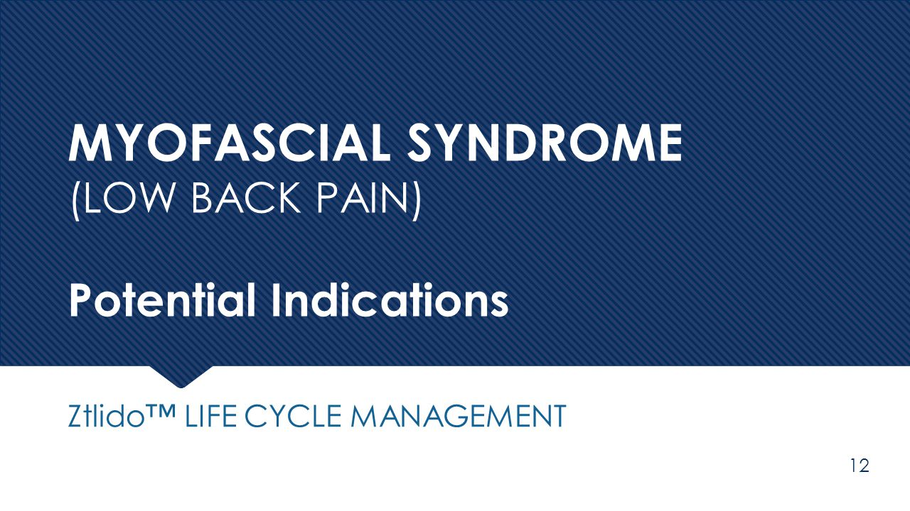 MYOFASCIAL SYNDROME (LOW BACK PAIN) Potential Indications
