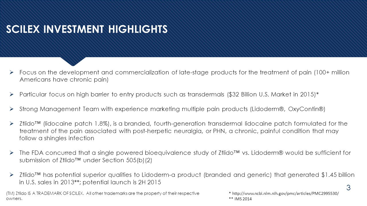 SCILEX INVESTMENT HIGHLIGHTS