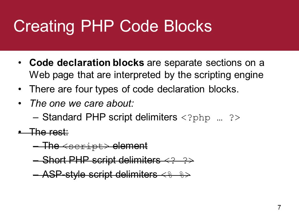 Creating PHP Code Blocks