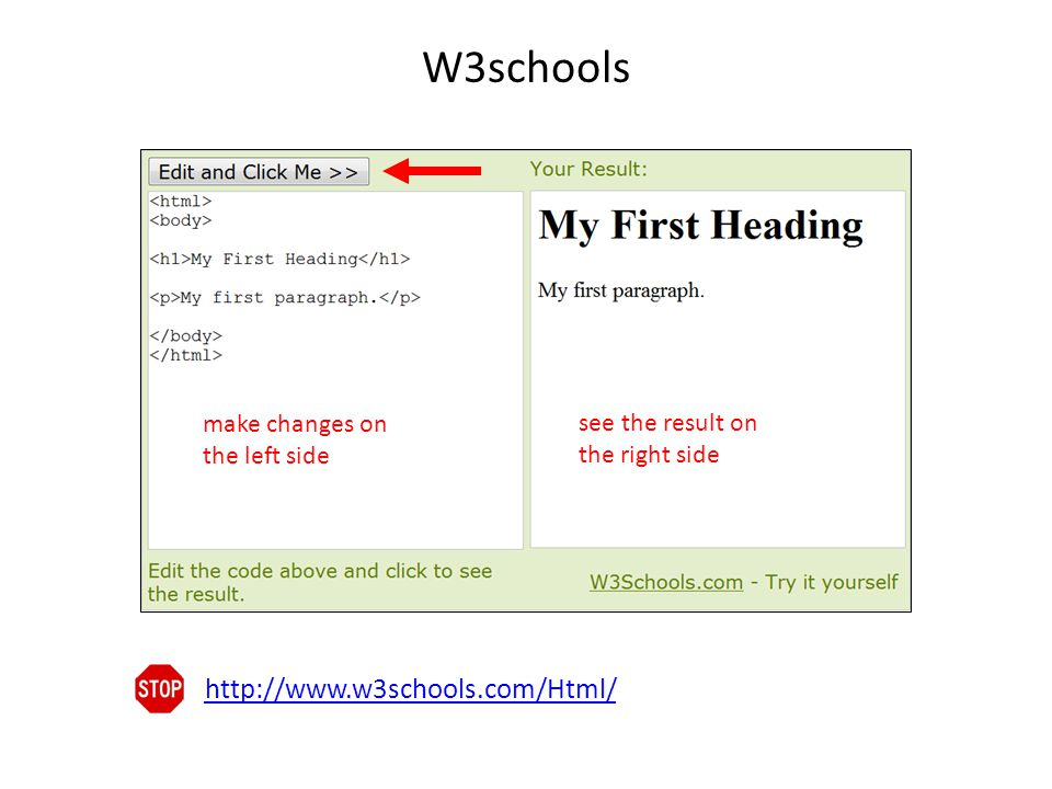 W3schools make changes on the left side. see the result on the right side.