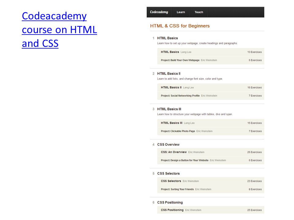 Codeacademy course on HTML and CSS