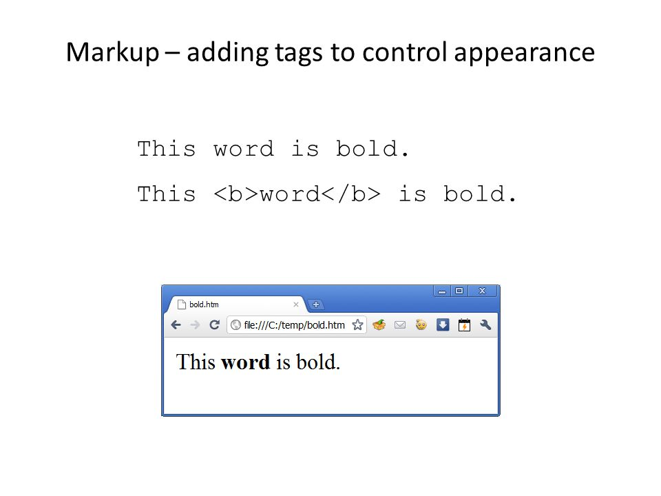 Markup – adding tags to control appearance