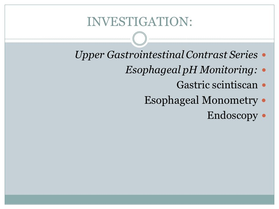 INVESTIGATION: Esophageal Monometry