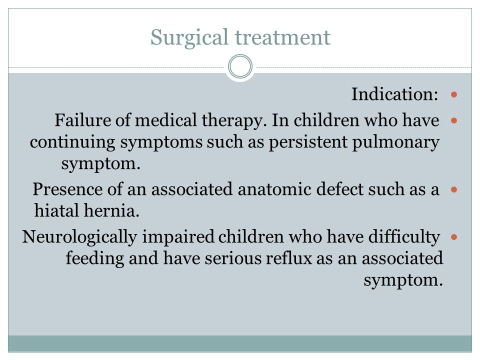 Surgical treatment Indication: