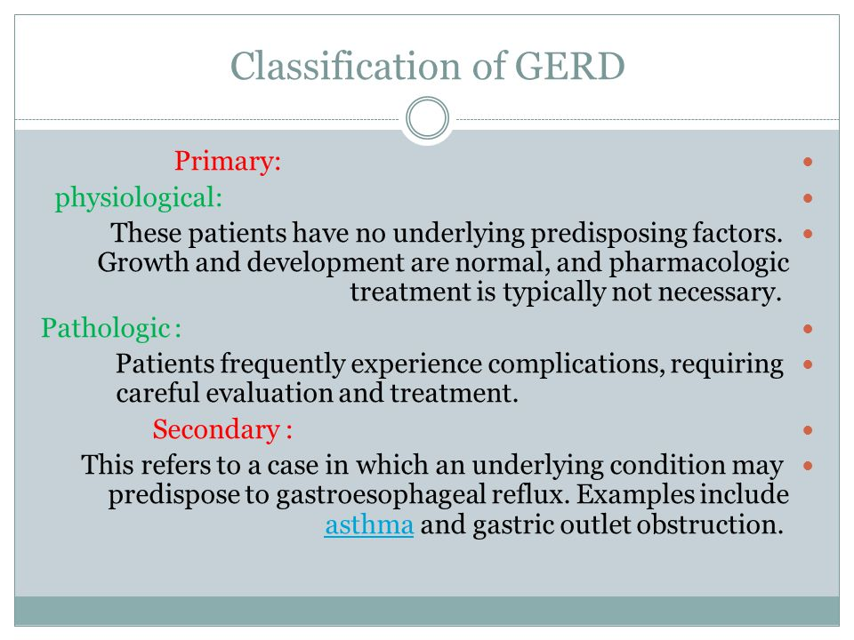 Classification of GERD