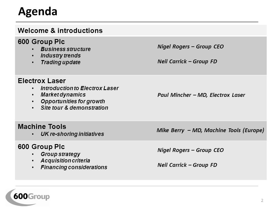 Agenda Welcome & introductions 600 Group Plc Electrox Laser