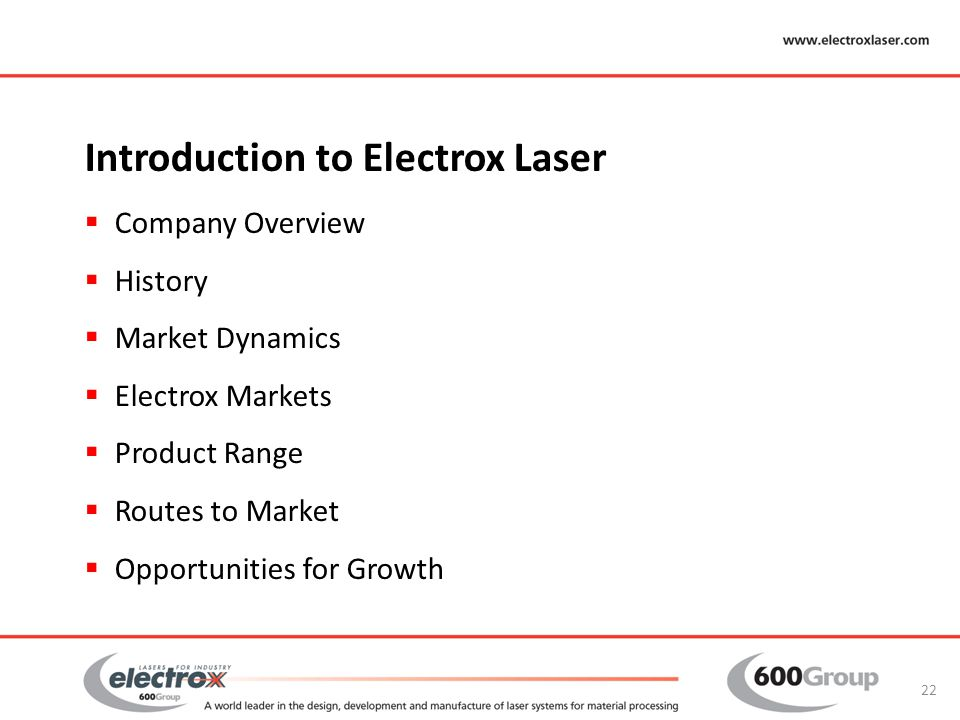Introduction to Electrox Laser