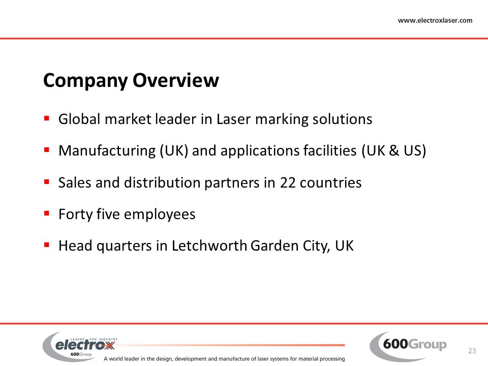 Company Overview Global market leader in Laser marking solutions