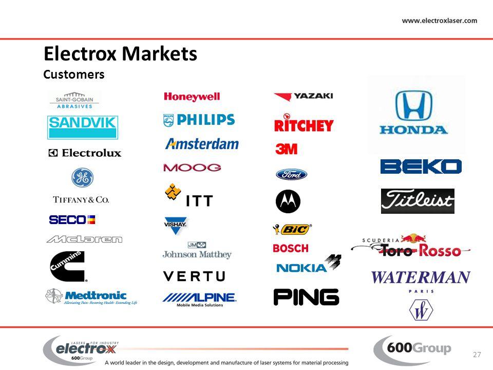 Electrox Markets Customers