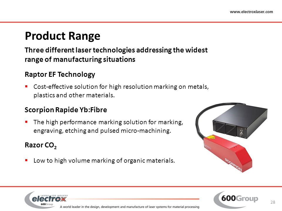 Product Range Three different laser technologies addressing the widest range of manufacturing situations.