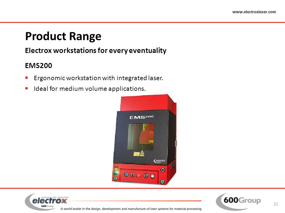 Product Range Electrox workstations for every eventuality EMS200