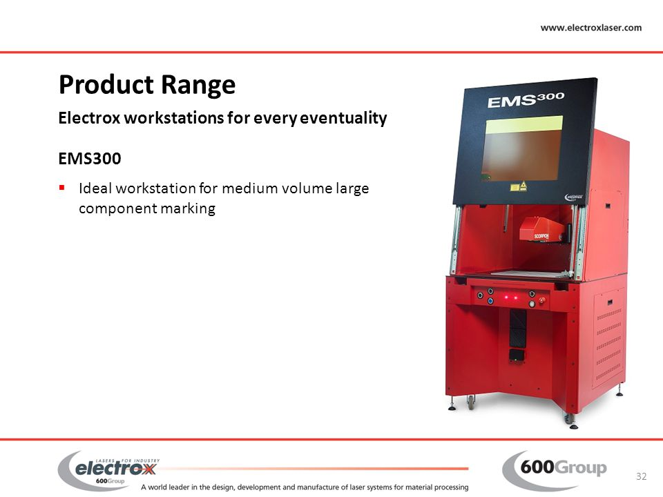 Product Range Electrox workstations for every eventuality EMS300
