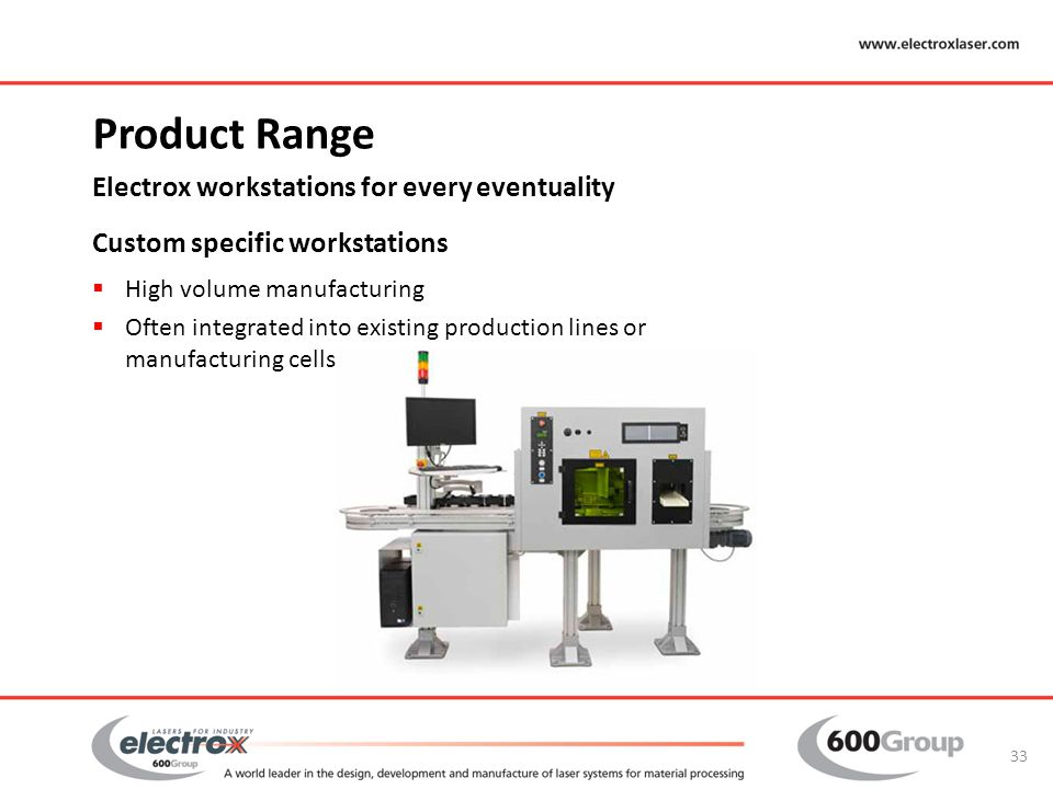 Product Range Electrox workstations for every eventuality