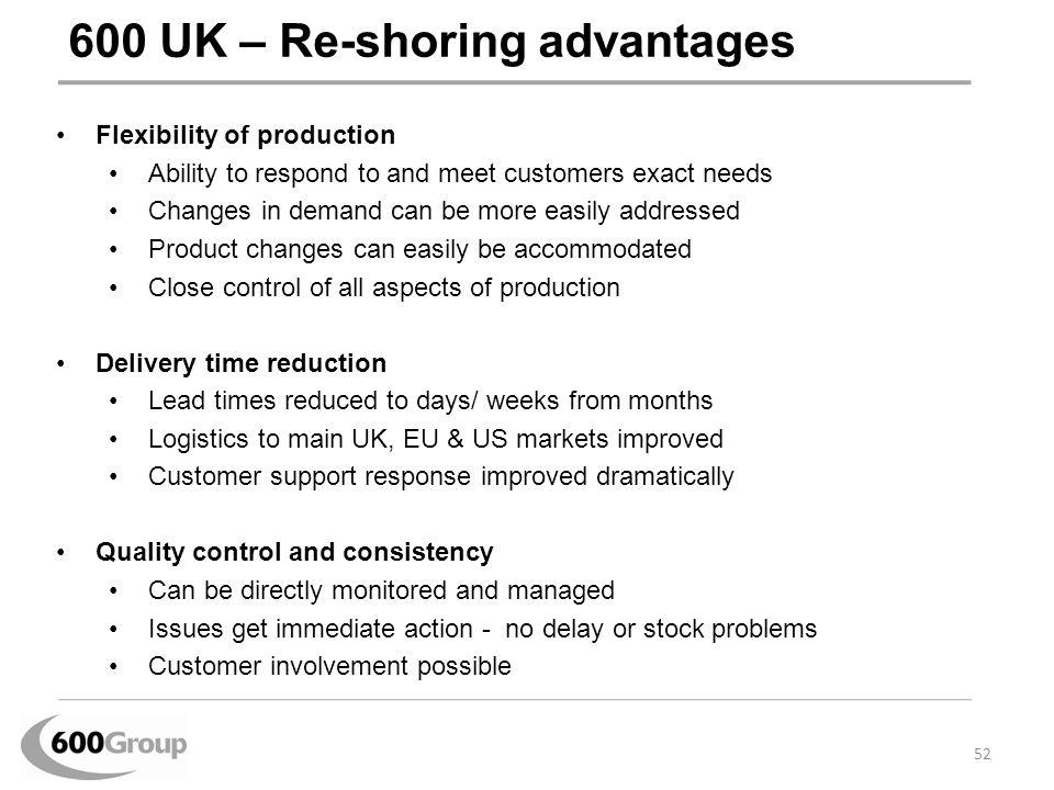 600 UK – Re-shoring advantages