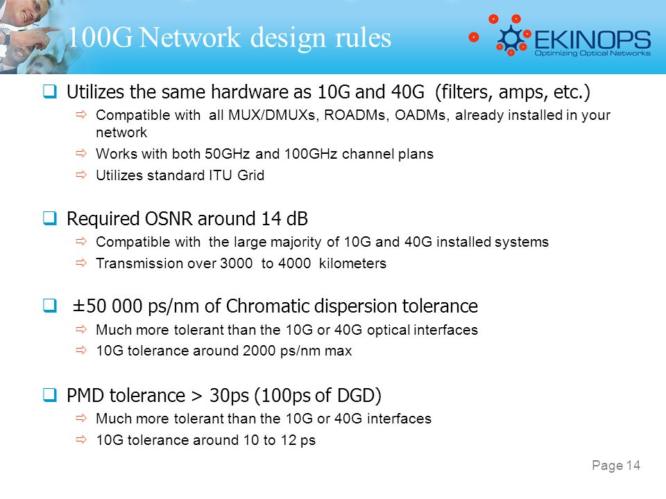 100G Network design rules Utilizes the same hardware as 10G and 40G (filters, amps, etc.)