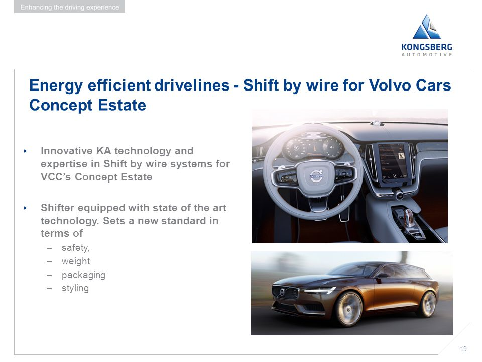 Energy efficient drivelines - Shift by wire for Volvo Cars Concept Estate