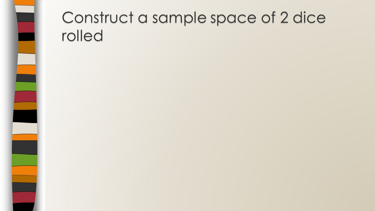 Construct a sample space of 2 dice rolled