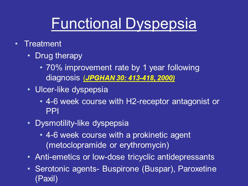 Functional Dyspepsia Treatment Drug therapy