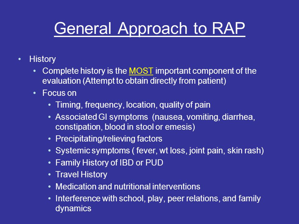 General Approach to RAP